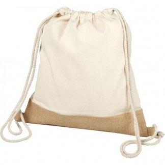 Gym bag personnalisé en coton et toile de jute - 150g - 33x44cm - debout - DELHI
