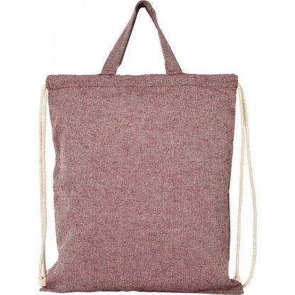 Gym Bag Personnalisé En Coton Recyclé Avec Poignées 150g 38x42cm Derrière Rouge PHEEBAS