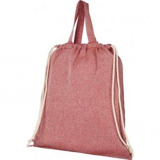 Gym bag personnalisé en coton recyclé avec poignées  - 150g - 38x42cm - plissé rouge - PHEEBAS