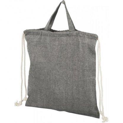 Gym Bag Promotionnel En Coton Recyclé Avec Poignées 150g 38x42cm Derrière Gris PHEEBAS