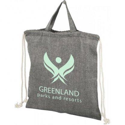 Gym Bag Promotionnel En Coton Recyclé Avec Poignées 150g 38x42cm Logo Gris PHEEBAS