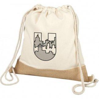 Gym bag publicitaire en coton et toile de jute - 150g - 33x44cm - logo - DELHI