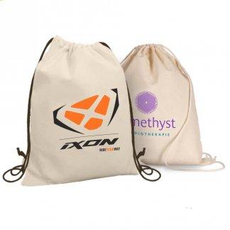 Gym bag publicitaire en coton naturel - 160g - cordons - GAYA