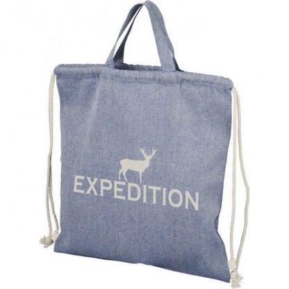 Gym Bag Publicitaire En Coton Recyclé Avec Poignées 150g 38x42cm Logo Bleu PHEEBAS