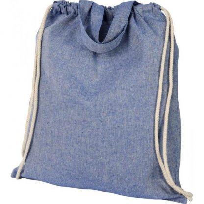 Gym Bag Publicitaire En Coton Recyclé Avec Poignées 150g 38x42cm Plissé Bleu PHEEBAS