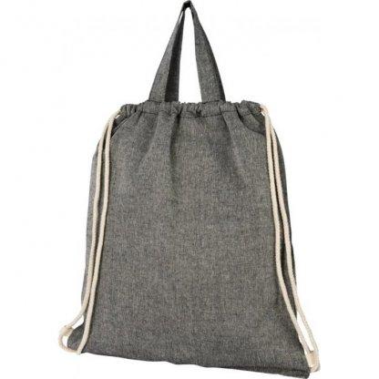 Gym Bag Publicitaire En Coton Recyclé Avec Poignées 150g 38x42cm Plissé Gris PHEEBAS