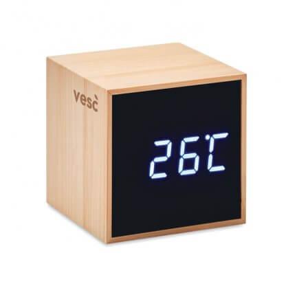 Horloge Et Réveil LED En Bambou MARA Avec Marquage