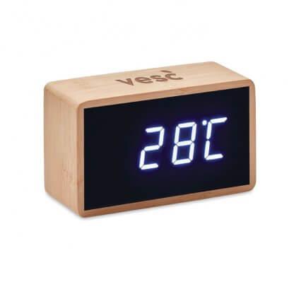 Horloge Et Réveil LED En Bambou MIRI Avec Logo