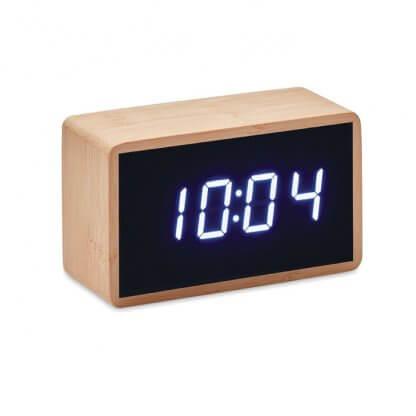Horloge Et Réveil LED En Bambou MIRI Hologe