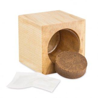 Kit de plantation dans cube en bois promotionnel - plaquette de tourbe - CUBE BOIS