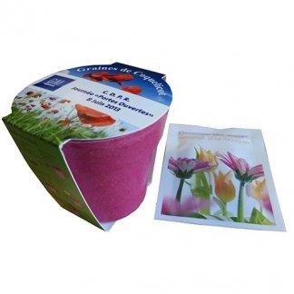 Kit de plantation dans pot en bambou biodégradable publicitaire - rose - TENDANCE ECOLO