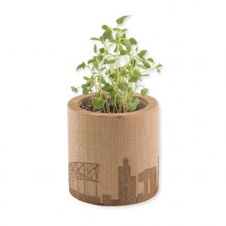 Kit de plantation personnalisé dans pot en bois rond - Avec gravure - POT ROND BOIS