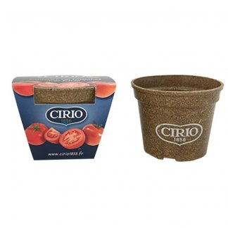 Kit de plantation promotionnel dans pot en paille de riz biodégradable - avec marquage sur pot - JARDIN ECOLO