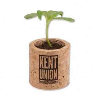 Kit de plantation promotionnel dans pot rond en liège - Gravure - POT ROND LIEGE