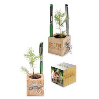 Kit de plantation publicitaire dans cube en bois avec porte stylos - CUBE BOIS DE BUREAU