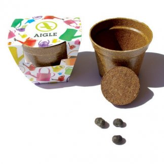 Kit de plantation publicitaire dans pot en paille de riz biodégradable - JARDIN ECOLO