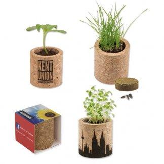 Kit de plantation publicitaire dans pot rond en liège - POT ROND LIEGE