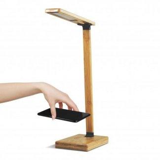 Lampe bureau personnalisable et chargeur téléphone induction en bambou - QITECH