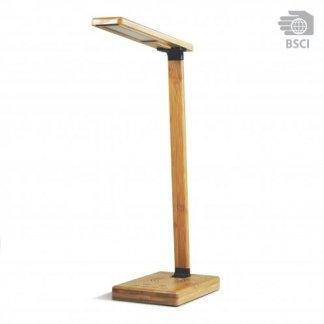 Lampe bureau publicitaire et chargeur induction en bambou - QITECH