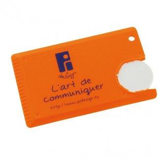 Mini gratte-glace carte de crédit publicitaire en polystyrène choc - Orange