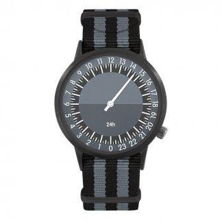 Montre mono-aiguille promotionnnelle - noir et gris - 24H