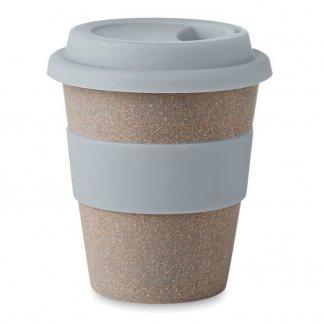 Mug avec couvercle 350ml publicitaire en fibre de bambou - Gris - BAMBOOASTORIA