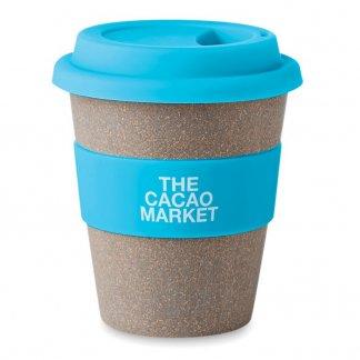 Mug avec couvercle 350ml publicitaire en fibre de bambou - Turquoise avec marquage - BAMBOOASTORIA