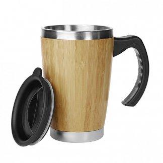 Mug personnalisable double paroi avec poignée en bambou - 330ml - Ouvert - BATCH