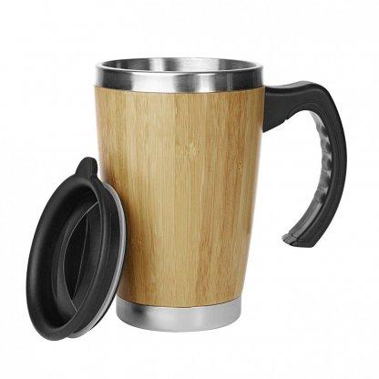 Mug Personnalisable Double Paroi Avec Poignée En Bambou 330ml Ouvert BATCH