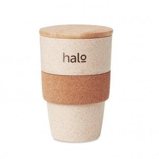 Mug personnalisé avec couvercle en PLA, paille de blé, bambou et liège - 420ml - Logo - LANKA