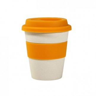 Mug personnalisé avec couvercle en fibre de bambou et silicone - 350ml - Orange - ECOMU