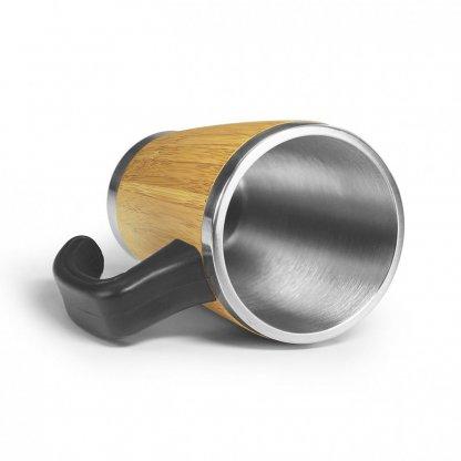 Mug Personnalisé Double Paroi Avec Poignée En Bambou 330ml Intérieur BATCH