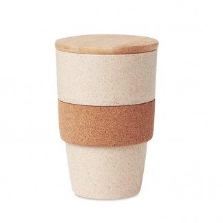 Mug promotionnel avec couvercle en PLA, paille de blé, bambou et liège - 420ml - LANKA