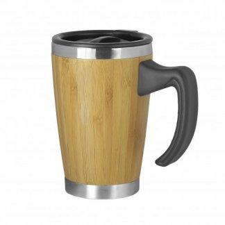 Mug promotionnel double paroi avec poignée en bambou - 330ml - BATCH