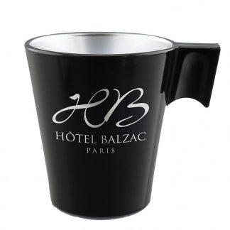Mug publicitaire 220ml en verre trempé teinté métal - Noir avec gravure rotative