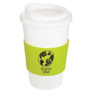 Mug thermos publicitaire 350ml éco-conçu - blanc et vert - AMERICANO