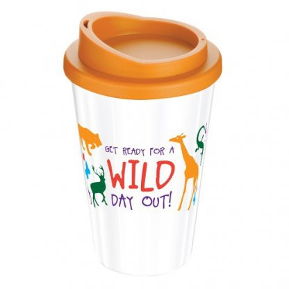 Mug Thermos Publicitaire 350ml éco Conçu Orange Et Blanc AMERICANO