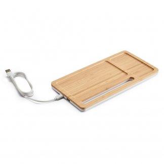 Organiseur de bureau promotionnel avec chargeur sans fil induction en bambou - MOTT