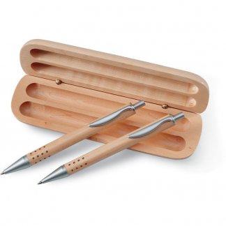 Parure stylo + porte-mines dans coffret en bois publicitaire - ouvert - DEMOIN