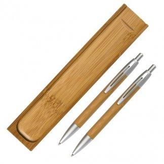 Parure stylo + porte-mines publicitaire en bambou - ENOLA