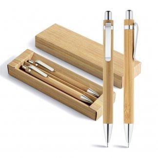 Parure stylo + porte-mines publicitaire en bambou - GREENY