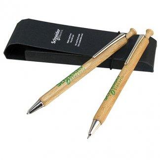 Parure stylo + porte-mines publicitaire en bois certifié - ALBERO