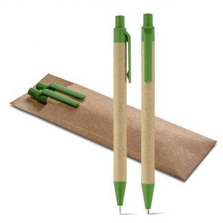 Parure stylo + porte-mines publicitaire en papier kraft - LEAF