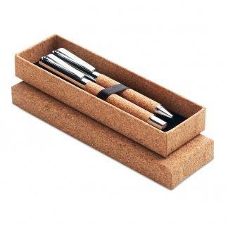 Parure stylos publicitaires en liège et métal - QUERCUS