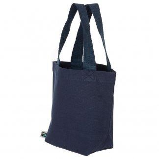 Petit sac avec fond publicitaire en coton biologique et équitable - 280g - 21x26x10cm - Bleu marine - LEDBURY