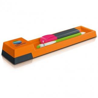Plumier-règle publicitaire de 20 cm en plastique polystyrène - Orange - POP CASE