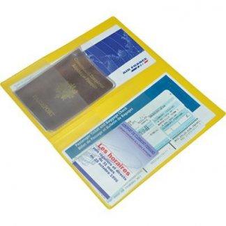 Pochette de voyage 4 poches publicitaire en PVC - jaune - ouvert