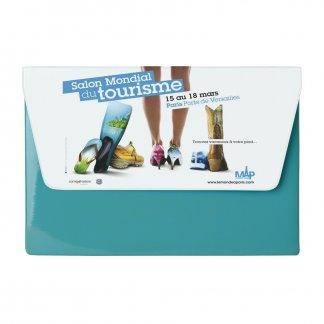 Pochette publicitaire A5 de voyage 1 poche en PVC - Bleu et marquage quadri