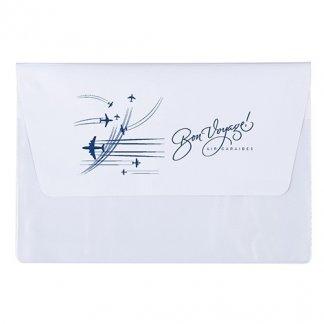 Pochette publicitaire A5 de voyage 2 poches en PVC - Blanc avec marquage 1 couleur