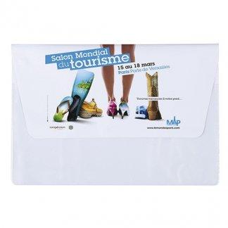 Pochette publicitaire A5 de voyage 2 poches en PVC - Blanc avec marquage quadri